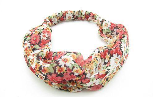 Twist front red floral turban headband