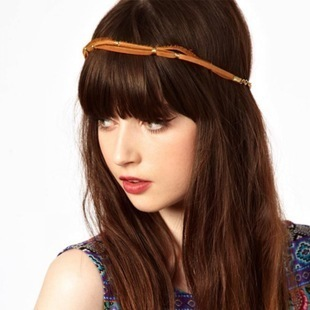 Orange suede ribbon head chain