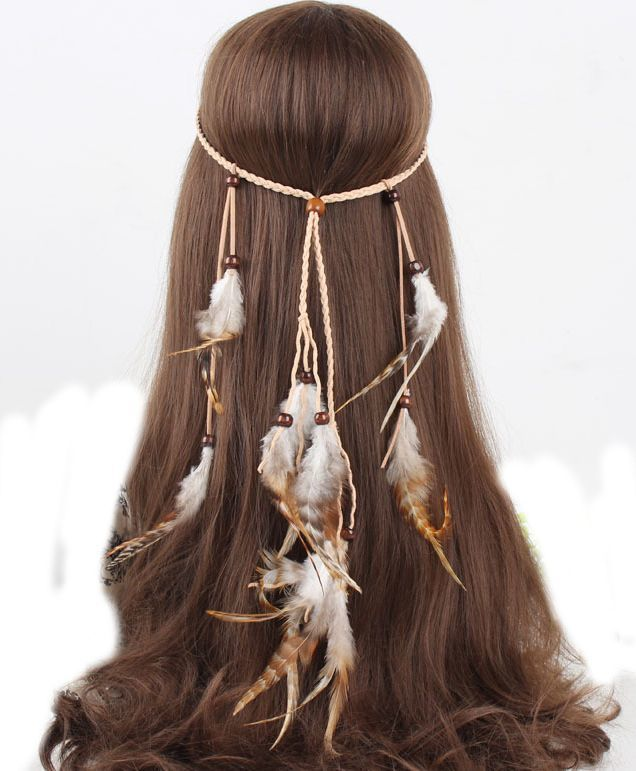 Multi-layered brown feather band