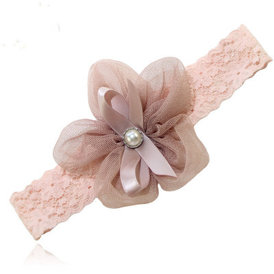 White pearl organza flower lace headband