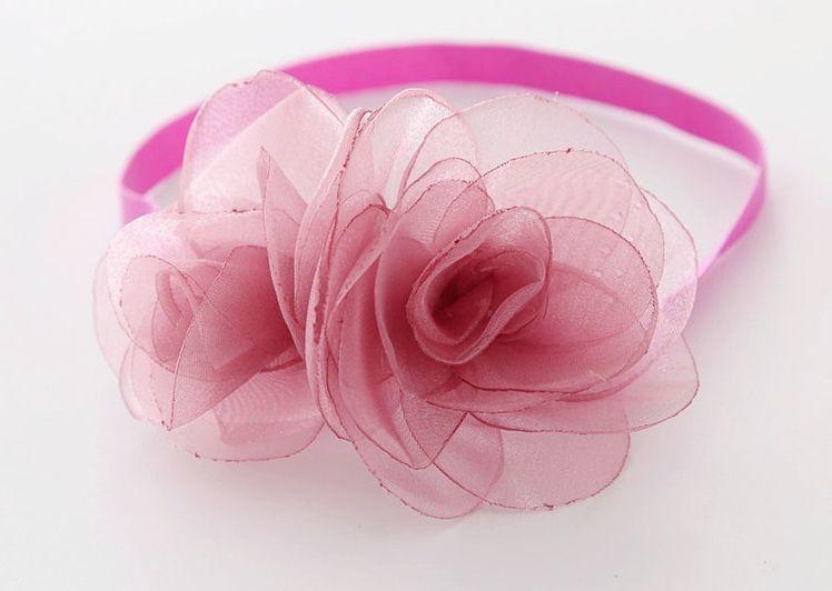 Sheer organza twin flower elastic headband