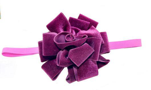 Purple velvet flower bow elastic headband