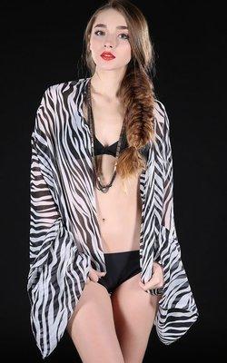 Black white zebra print bikini wrap