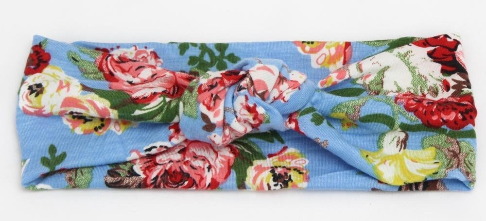 Floral knot front stretch headband
