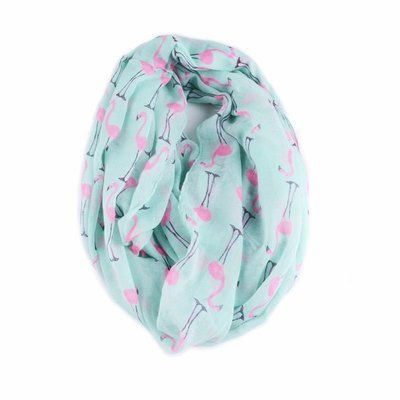 Light green pink Flamingo infinity scarf