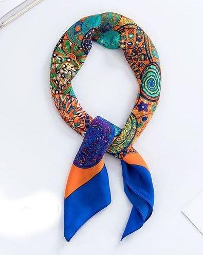 Rainbow Swirls head scarf / neck scarf