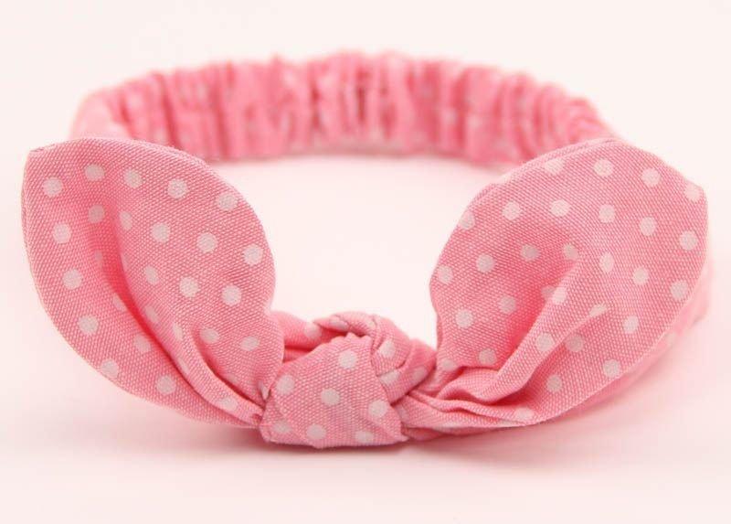 Small dots elastic headband with bow
