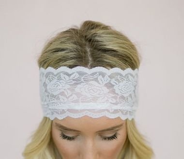 Super wide rose flower lace hair band