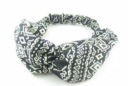 Black white totem chiffon elastic headband