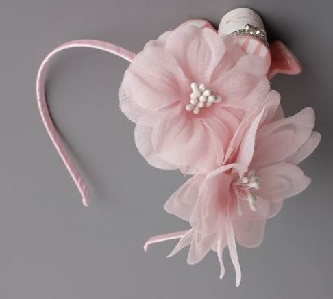 Organza pink twin flowers headband