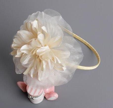 Champagne large pom flower headband
