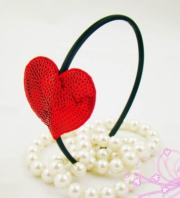 Red sequins heart shape  headband