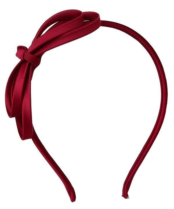 Wine red satin bow headband - 10-30 pieces