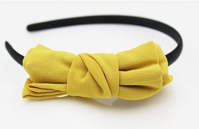Yellow chiffon bow headband