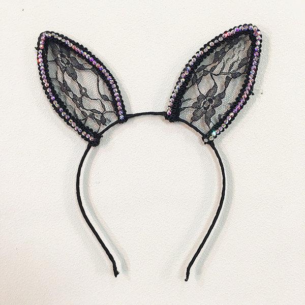 Sparkling lace ears headband