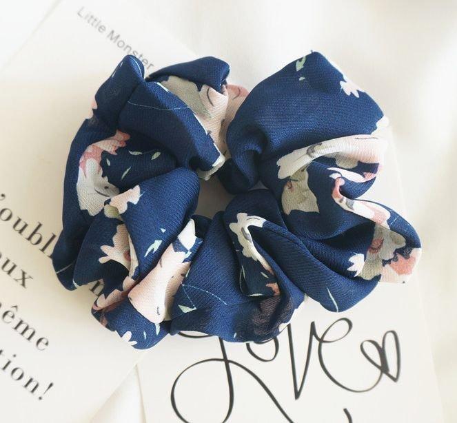 Large flowers chiffon scrunchies