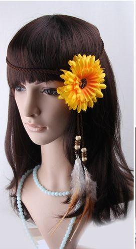 Bohemian sunflower feather hair band