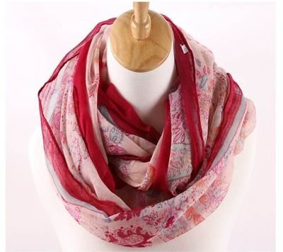 Coloured totem floral infinity scarf