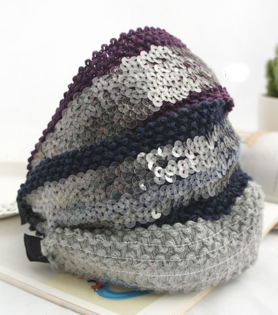 Knitted clear-sequins extra-wide headband