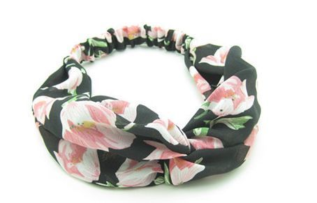 Twist front large flowers elsatic headband