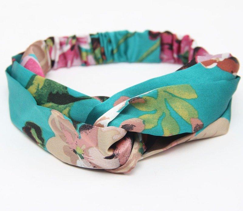 Twist front floral satin elastic headband