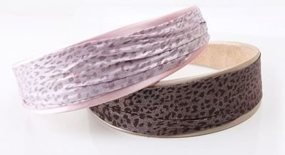 4-cm wide satin & leopard chiffon layered headband
