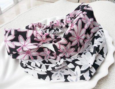 Twist front large flowers elastic headband