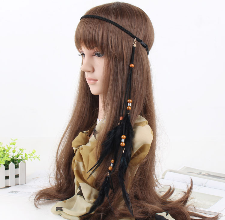 Wooden beads feather elastic headband