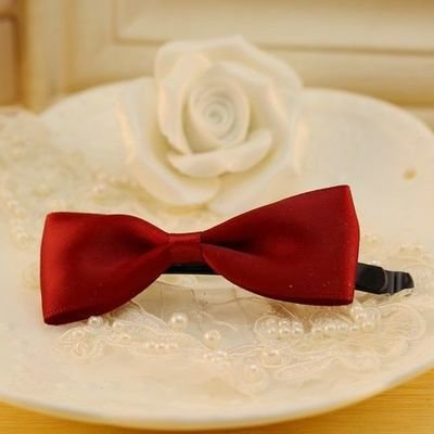 Satin ribbon bowknot hair clip