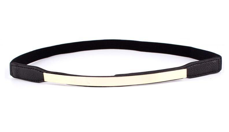 Mirror plated slim stretch belt