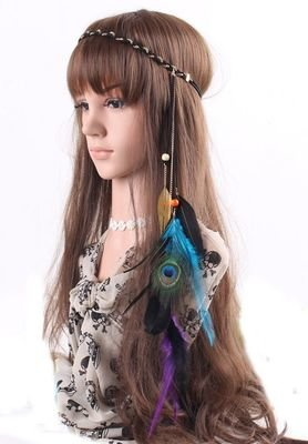 Gold leaves Peacock feather elastic headband