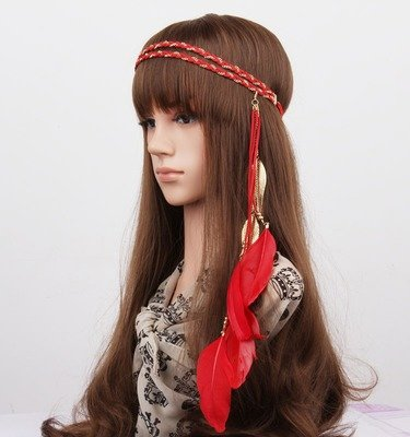 Gold leaves feather elastic headband