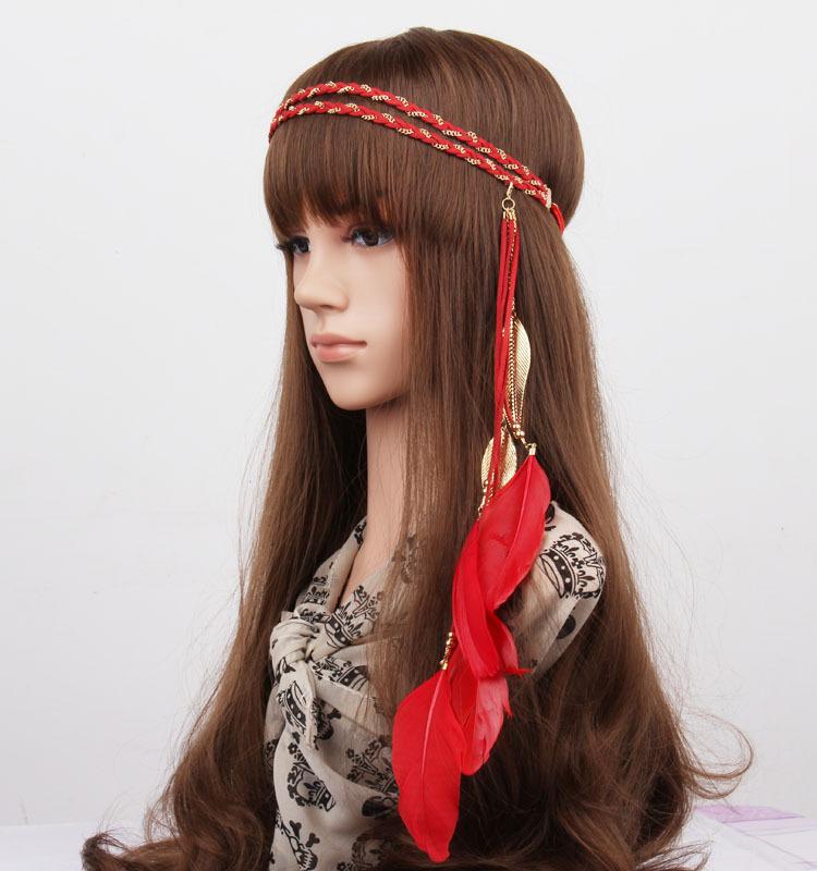 Gold leaves feather elastic headband