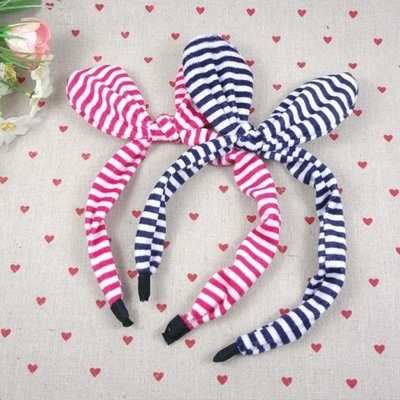 Striped velvet headband with bow