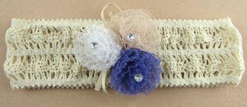 Small flowers lace stretch headband