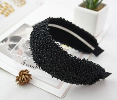 6.3cm-wide beaded black stitched lace headband