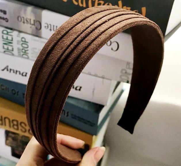 Folded suede wide headbands