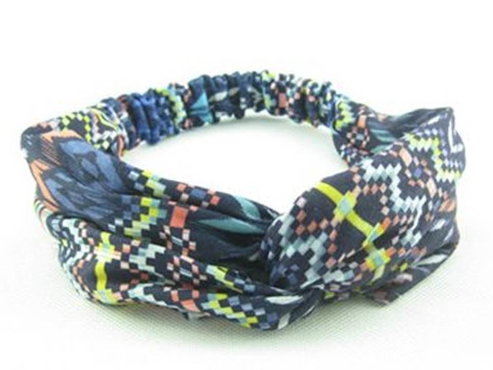 Twist front Blue rainbow elastic cotton headband