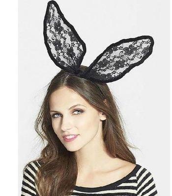 Lace bunny-ear headband