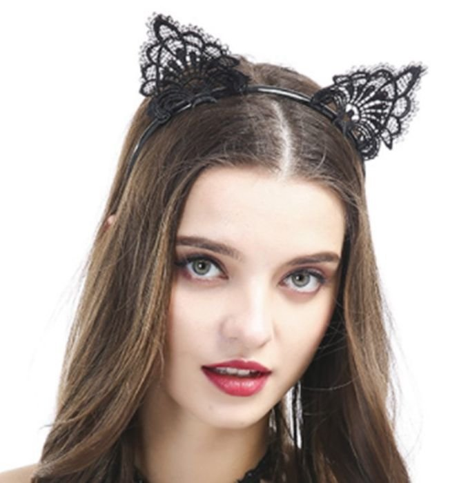 Floral black lace cat ears headband