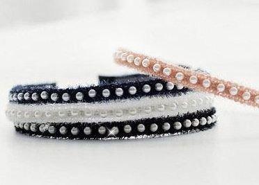 Tinsel lace & Pearls thin headband