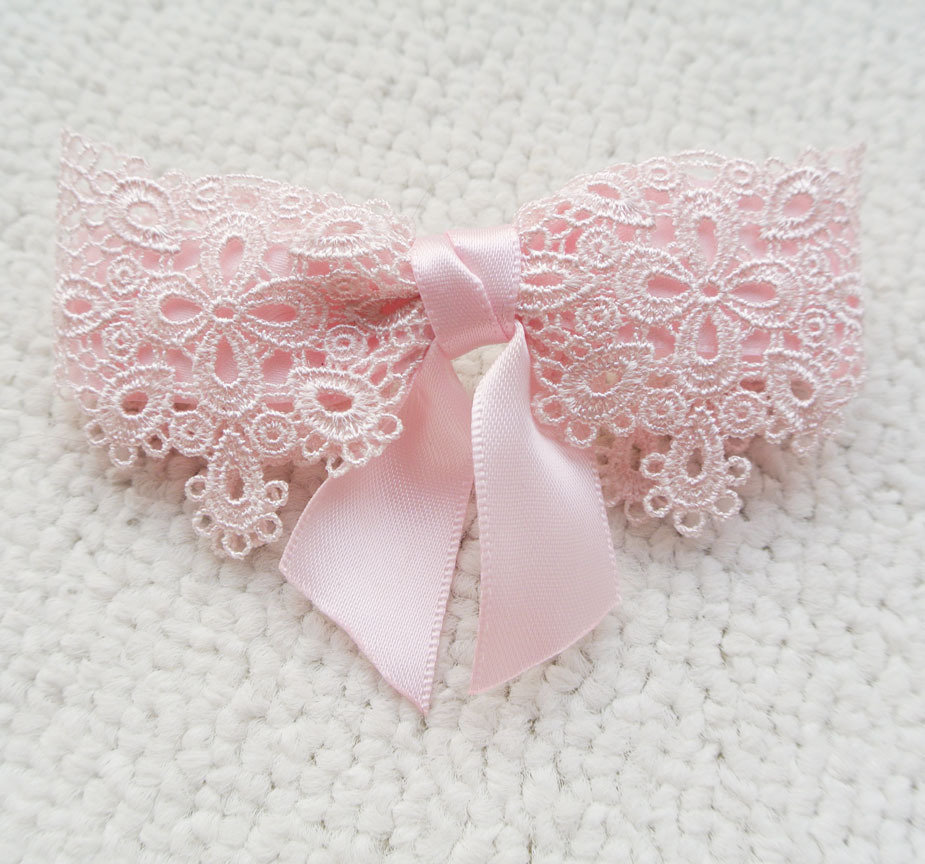 Pink lace bow hair barrette