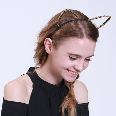 Gold chain large cat ears headband