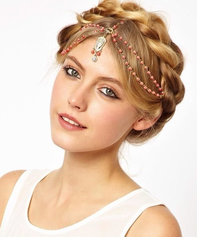 Orange beads dangling head chain