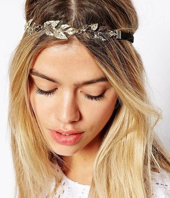 Gold Leaf branches elastic head chain