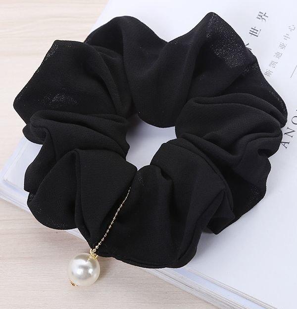 White pearl chiffon scrunchies