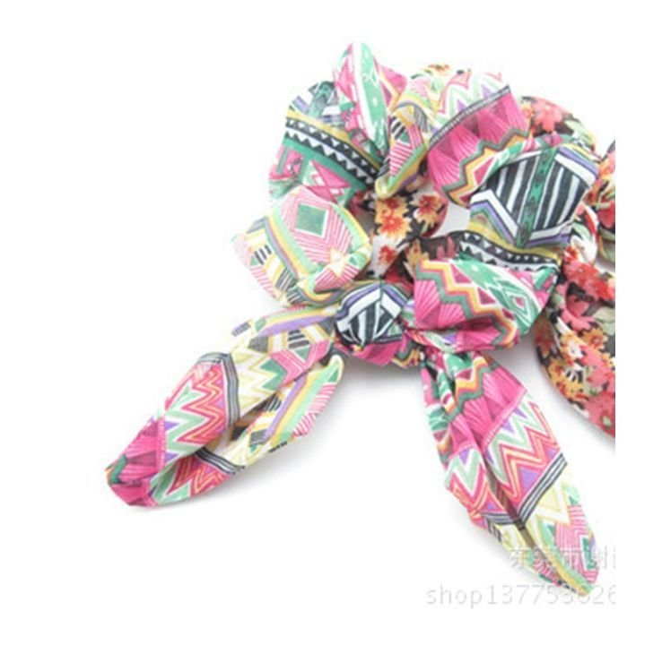 Bohemian style Fuchsia coloured scrunchy with bow