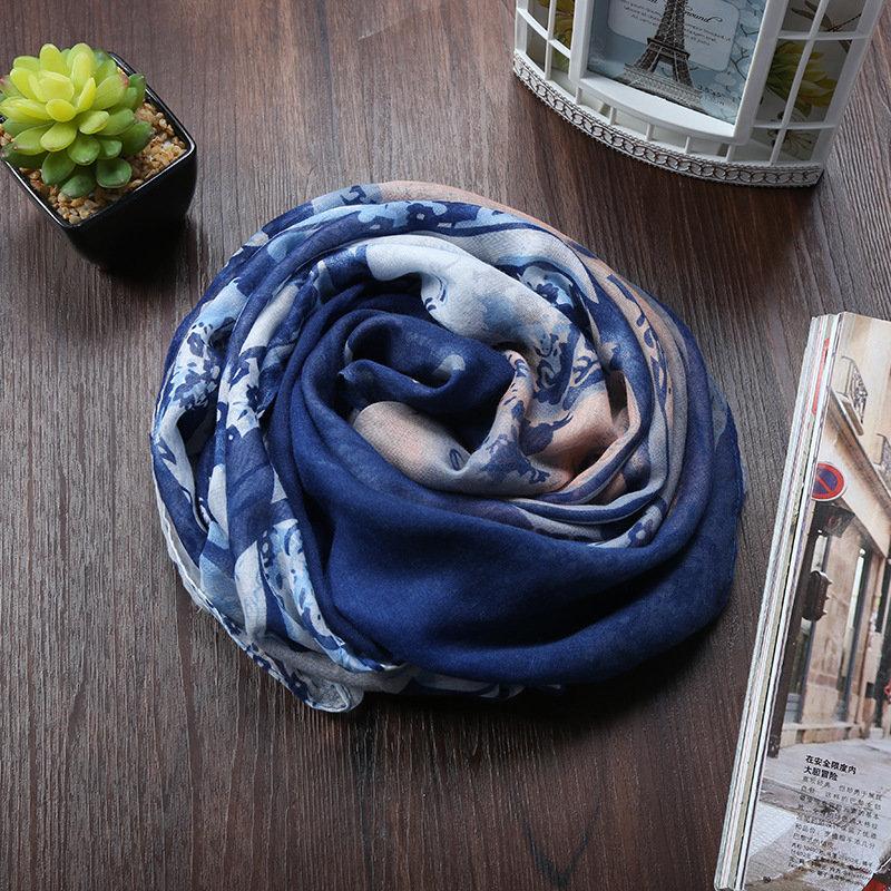 Beautiful blue print infinity scarf