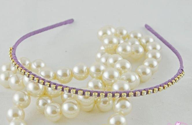 Shiny crystal cotton headband