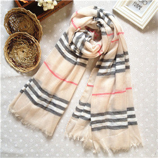 Beige plaids & checks long scarf